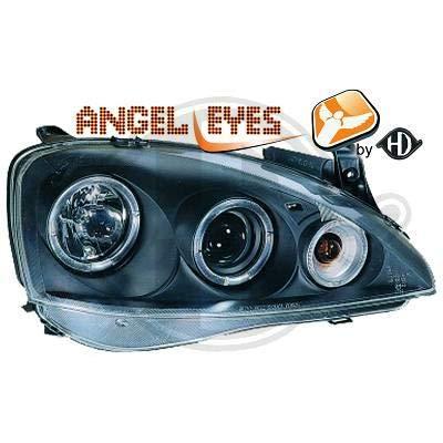 1813580, 1 paar Angel Eyes koplampen, zwart, voor Corsa C van 2000 tot 2006