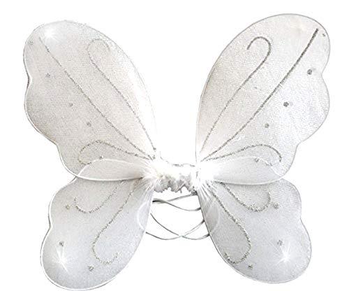 Alas de mariposa - accesorio de disfraz - disfraz - carnaval - halloween - teatro - hada - blanco - niña - 3-7 años - idea de regalo para cumpleaños