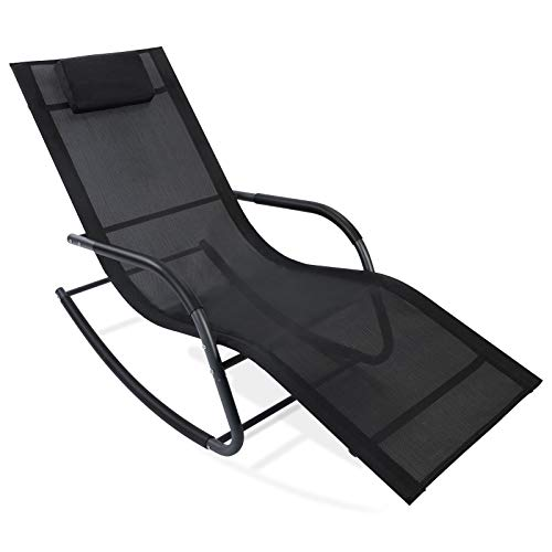 AGESISI Rocking Lounge Chair Reclining Chair Textilene Mesh Patio Zero Gravity Chaise with Pillow for Beach Yard Pool Outdoor Indoor, Black