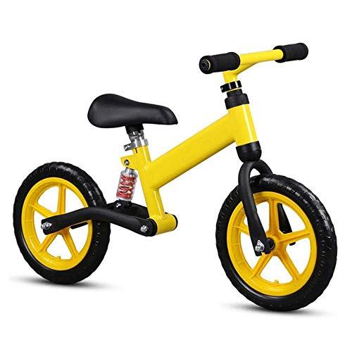 ZLXLX Trainingswagen Balance Bike - Aluminium Balance Bike - Ultralicht voor peuters en kinderen 2, 3 jaar oud, Wit geel