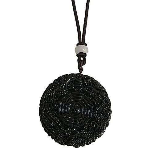 juexiyarticle Collar con colgante de obsidiana negra para unisex, amuleto de la suerte, piedra de cristal con cuerda ajustable,
