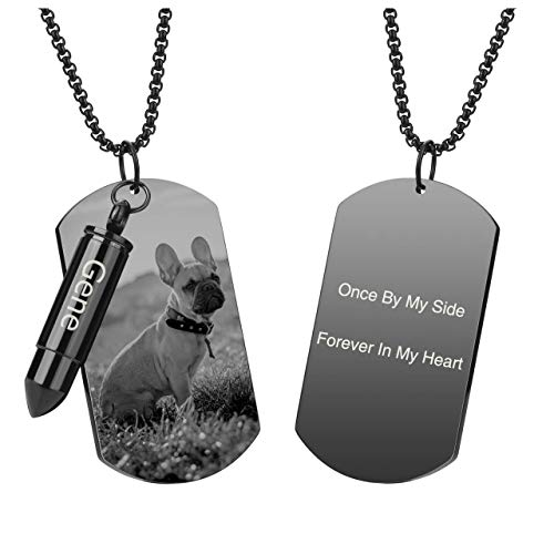 PiercingJ Personalized Custom Photo Picture Text Engraved Stainless Steel Urn Bullet Military Army Dog Tag ID Necklace 2 in 1 Double Pendant Ashes Keepsake Memorial Cremation Jewelry for Men