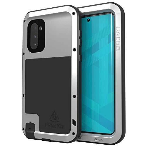 Love Mei Schutzhülle für Samsung Galaxy Note 10, ohne eingebauter Displayschutzfolie, robust, stoßfest, Metall, stoßfest, stoßfest, Silber