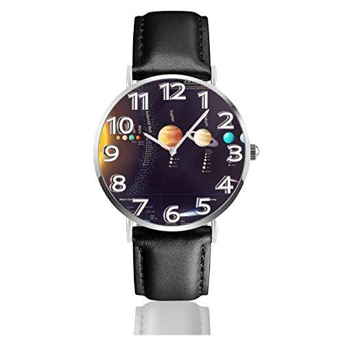 腕時計 レザーウオッチ 惑星 天体 太陽系 科学情報 軽量 防水 耐衝撃性 アンチスリップ 贈り物 銀 ファッション カジュアル ビジネス クオーツ 時計 メンズ レディース