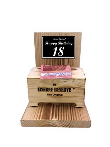 Happy Birthday 18 Geburtstag - Eiserne Reserve ® Geldbox - Geldgeschenk Schatztruhe - Geld verschenken - 18 Geburtstag Geschenk Idee für Männer & Frauen Geschenke zum 18 Geburtstag