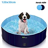 amzdeal Piscina para Perros - Bañera Plegable para Mascotas, Piscina Grande Resistente y Estable, PVC Antideslizante,...