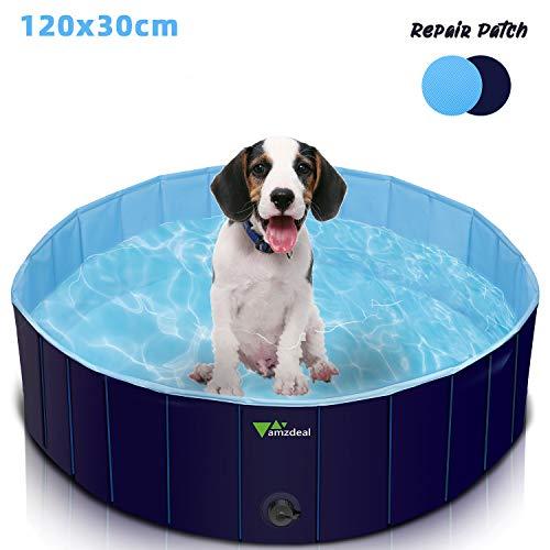 amzdeal Piscina para Perros - Bañera Plegable para Mascotas, Piscina Grande Resistente y Estable, PVC Antideslizante, Múltiples Usos para Mascotas y Niños φ120x30cm