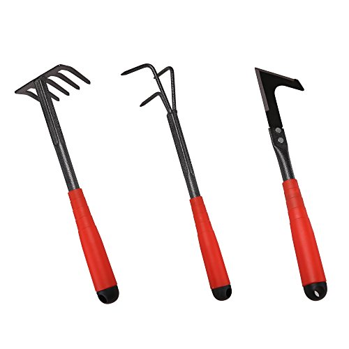 FLORA GUARD 6 Piece Garden Tool Sets - Including Trowel,5-Teeth rake,9-Teeth Leaf rake,Double Hoe 3 prongs, Cultivator, Weeder, Gardening Hand Tools with High Carbon Steel Heads