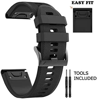 H.J.G SUPPLIES 26mm Easy Fit Silicone Replacement Watch Band Garmin Fenix 5X,Fenix 3 Quatix 3,Tactix Bravo,Foretrex 701, 26mm-Black