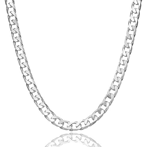 5mm thick solid sterling silver 925 stamped Italian extra flat diamond cut Cuban curb cable link style chain necklace chocker with lobster claw clasp jewellery jewelry - inch 16'/40cm