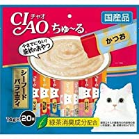 (まとめ)CIAO ちゅ~る シーフードバラエティ 14g×20本 (ペット用品・猫フード)【×16セット】 〈簡易梱包