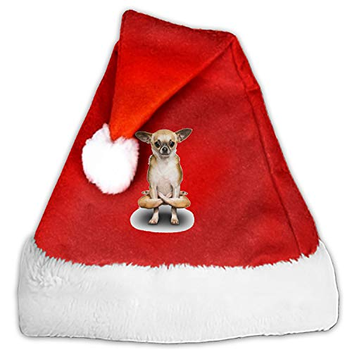Yoga Chihuahua Red Christmas Hat Adults Children Velvet Plush Hat for Cosplay/Party/Holiday/Xmas Tree Decoration