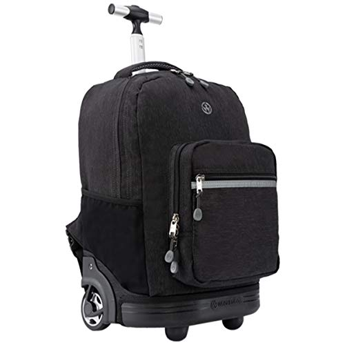 WEISHENGDA 18 inches Wheeled Rolling Backpack for Boys and Girls School Student Books Laptop Travel Trolley Bag, Black
