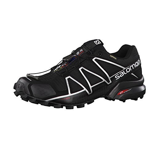 Salomon Men's Speedcross 4 GTX Trail Running Shoes, Black/Black/SILVER METALLIC-X, 10