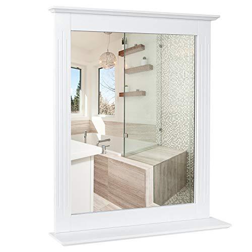 HOMFA 57x68cm Wandspiegel Badspiegel mit Ablage Hängespigel Spiegel für Badezimmer Wohnzimmer Flur...