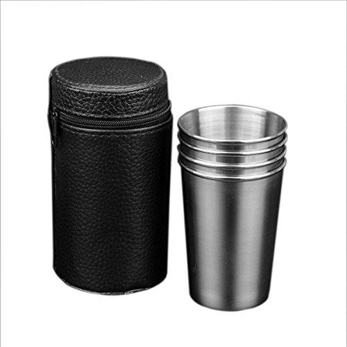 Asdomo 4 pcs/Ensembles 170 ml Premium Gobelet à eau extérieur en acier inoxydable Vin Thé café à boire en métal Verres à shot coupelles à bords Tasses 170,1 gram (Tasse portables inclus)