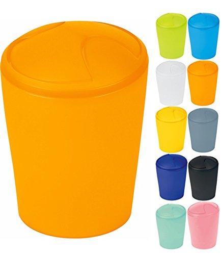 Spirella Kosmetikeimer Move Abfalleimer Schwingdeckeleimer   Kunststoff   5 Liter  Orange