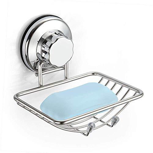 SANNO Saugnapf Seifenschale, leistungsstarke Saugnapf, Schwämme Halter für Badezimmer, Küchendusche - rostfreier Edelstahl (Silber)