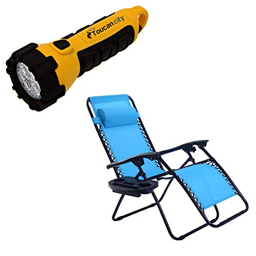 Toucan City LED Flashlight and Goplus Blue Chair without footrest Zero Gravity Reclining Plastic Outdoor Lounge Chair OP70528BL