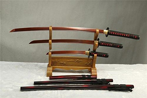 1095 Carbon Steel RED Blade Forged Japanese Samurai Swords Set Full Tang(Katana + WAKIZASHI +Tanto) Free Send Black Stand