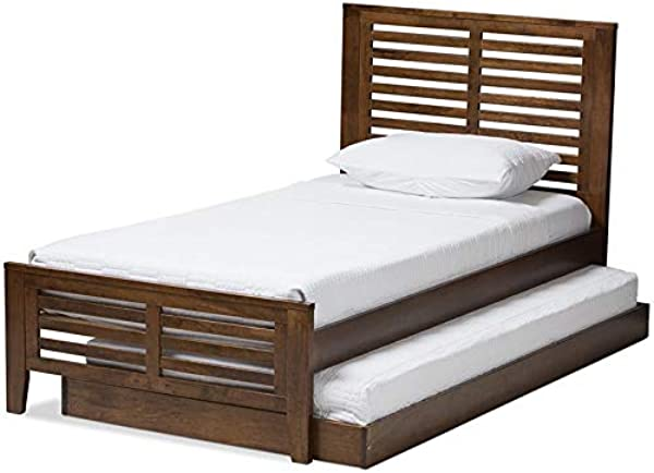 Baxton Studio Sedona Twin Slat Platform Bed With Trundle In Brown