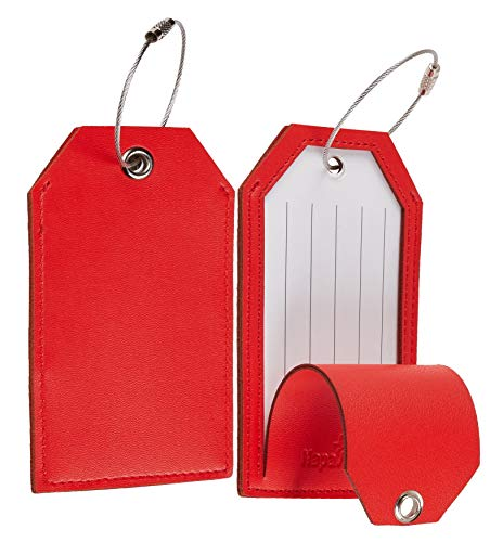 Toughergun Leather Instrument Baggage Bag Luggage Tags with Privacy Cover 2 pcs Set (Red Classic)