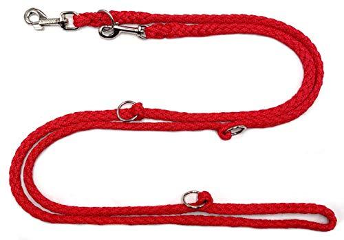 elropet Premium Hundeleine Doppelleine 2,80m 4fach verstellbar rot Umhängeleine