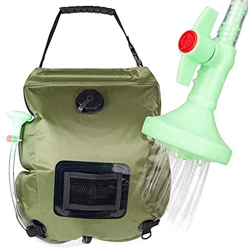 MKKYDFDJ Bolsa de ducha solar, bolsa de ducha de 5 galones/20 l con manguera extraíble y cabezal de ducha conmutable para acampar al aire libre, viajes, senderismo, verano
