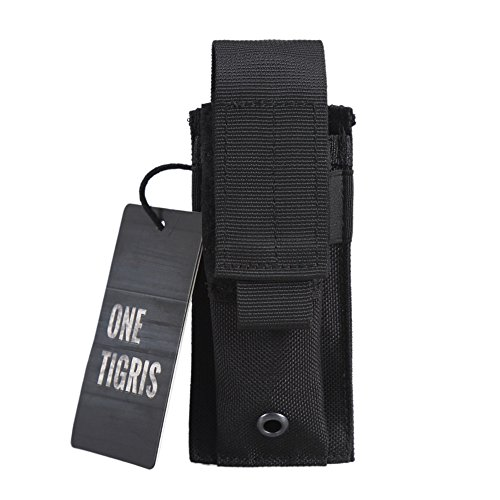 OneTigris Einzel Pistole Magazintasche/Mag Pouch Verstellbare Nylon Gürteltasche/Tool Pocket (Schwarz)
