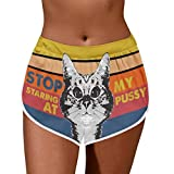 Women Casual Funny Cartoon Printing Shorts Loose Stripe Sports Pants - Stop Staring at My Pussy/Ass