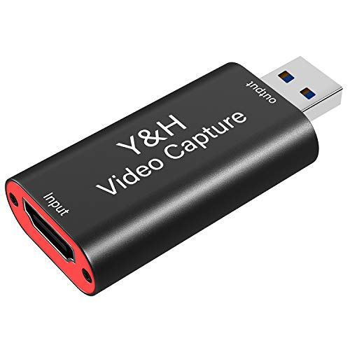 Y&H Audio-Video-Aufnahmekarten HDMI auf USB 2.0 1080P 60fps Aufnahme über DSLR, Camcorder, Action-Cam, für Live-Streaming,Live-Spiel,Zoom-Skype-Meeting