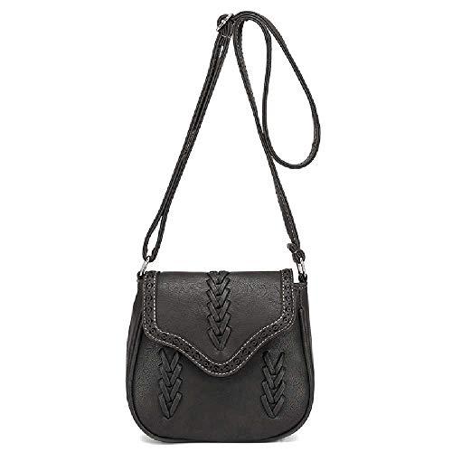 Amiemie dames retro wind geweven hand-held schoudertas diagonaal crossbag 20 cm x 9 cm x 18 cm/grijs