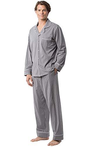 PajamaGram Classic Mens Pajamas Cotton - Men Pajamas Set, Charcoal Stripe, MD