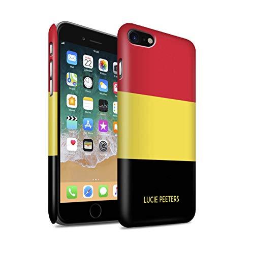 Personnalisé Drapeau National Nation Personnalisé 2 Matte Coque pour Apple iPhone Se 2020 / Belgique/Belge Design/Initiales/Nom/Texte Etui/Housse/Case Clipser