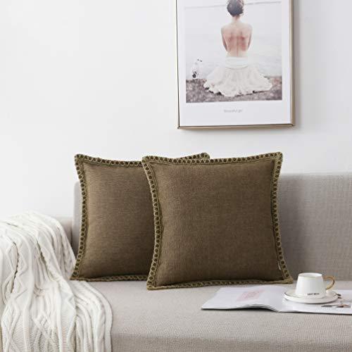 NordECO HOME Juego de 2 Fundas de cojín Decorativas, Lino de arpillera, Bordes a Medida, Fundas de Almohada para Cama, decoración del hogar, 45 x 45 cm, marrón