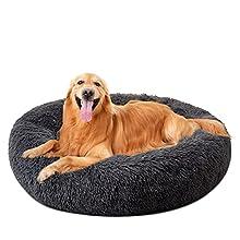 DanceWhale Redonda Cama Perro Gato Cama Cama de Felpa para Mascota Lavable Sofa Suave Cachorro Calentito Cojín(100cm, Gris Oscuro)