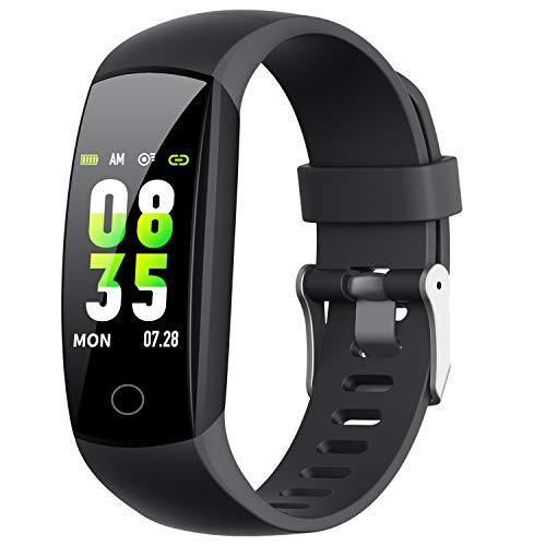 HETP Fitness Armband mit Pulsmesser, 【2019 Fitness Tracker Uhr mit Blutdruckmesser, Schlafüberwachung, IP67 Wasserdicht Schrittzähler, Kalorienzähler für Kinder Damen Männer