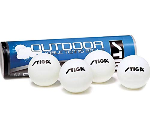 STIGA Water-Resistant, Durable, Outdoor Table Tennis Balls Minimize Wind Resistance (4-Pack)