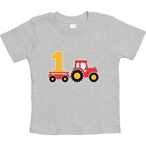 Shirtgeil 1 Jahr Geburtstag Junge Geschenk Traktor Bagger Unisex Baby Thirt 18-24 Monate Grau