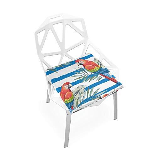 Cojines de silla grande Loros de guacamayo rojo Hojas de palma en almohadillas de silla de espuma de memoria suave antideslizante Cojines Asiento para hogar Cocina Escritorio de oficina Silla acolcha
