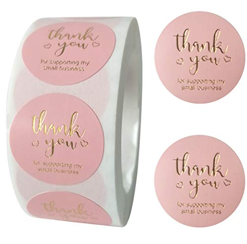 Thank You for Supporting My Small Business Sticker Labels, 1' Round Thank You Stickers Roll, Thank You Labels for Greeting Cards, Flower Bouquets, Gift Wraps, Tags, Mailers Bag