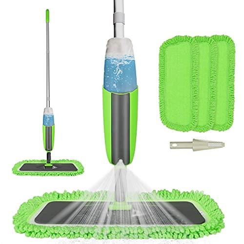 Balai Lave Sol avec Vaporisateur, Tencoz Balai pulvérisateur Rotation à 360 ° avec 2 serpillères interchangeables et lavables et 1 réservoir, balai serpillère pour la maison (Gris-Vert) gris vert