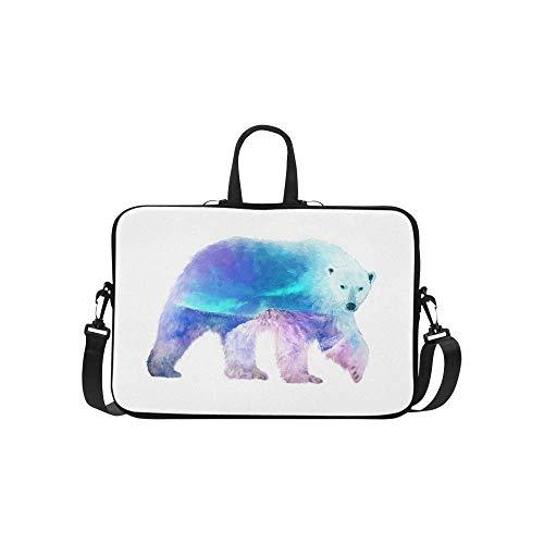 InterestPrint Funny Polar Bear with Mountain Landscape 15 15.6 Inch Waterproof Neoprene Laptop Sleeve Notebook Computer Case Shoulder Bag with Handle & Strap for Women Men