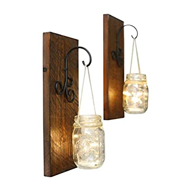 Bleecker Station Rustic Mason Jar Wall Sconce Set with Fairy Lights, Distressed Brown, Set of Two Farmhouse Lighted Sconces, Rustic Home Décor