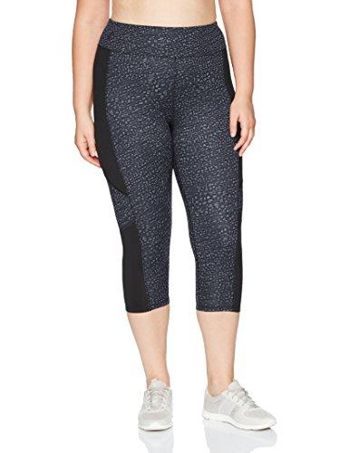 Just My Size Women's Plus Size Active Pieced Stretch Capri, Spot on Slate Grey/Black, 3X