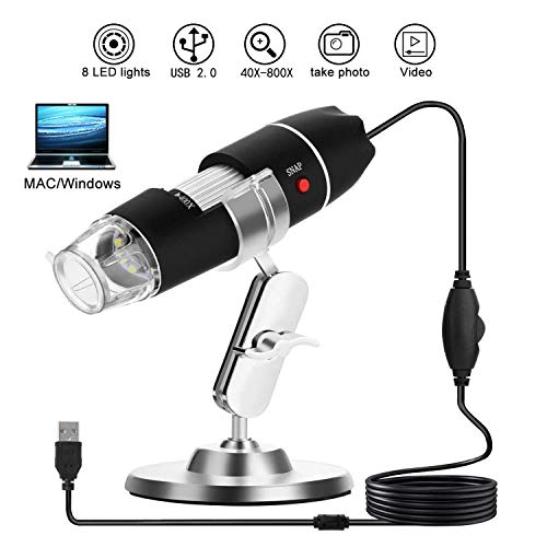 WADEO Digital Mikroskop mit Kamera USB mikroskop Vergrößerung Endoskop Mini Kamera mit Standfunktion 8 LEDs Metallständer für Windows 7 Vista XP 2000 Mac 40X to 800X