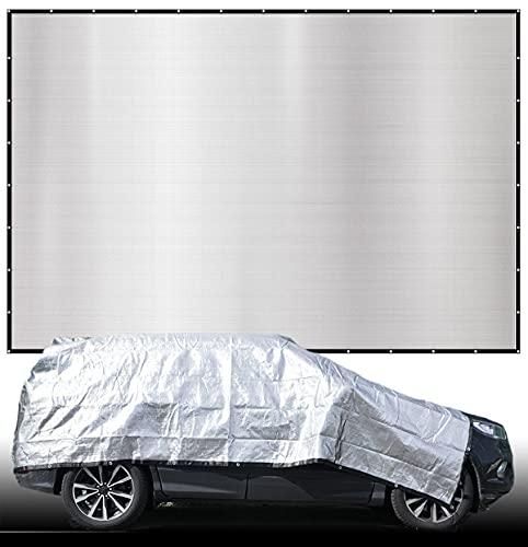 AMANKA 99% Schattennetz - 6x4m Alu Sonnensegel Sonnenschutz Netz Hitzeschutz für Auto Hund Camping