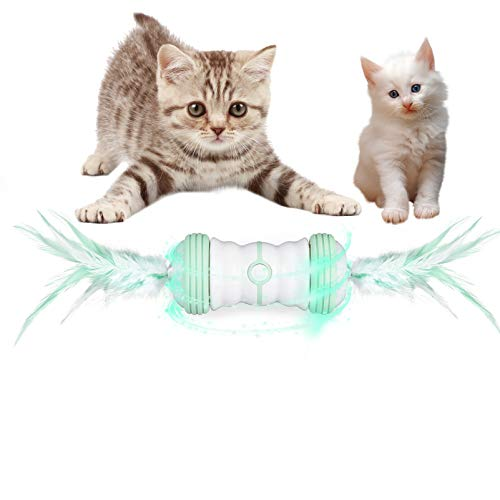 FIGROL Interactive Cat Toys,Auto Rotate Cat Ball with Feather,USB Charging Cat Ball Toy with Spinning Multiple Color LED Light,2 Speed Modes Toy Ball for Indoor Cats Kitten