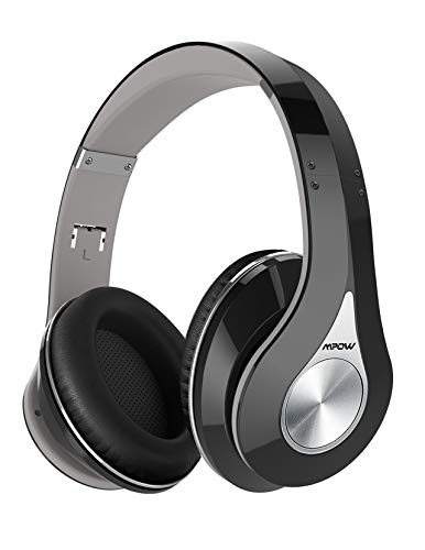 Mpow On-Ear Headphones Bluetooth Headphones With Noise Cancelling Stereo, Foldable Headband, Ergonomic Designed Soft Earmuffs, Built-In Mic, 13 Hours Playback Time For Pc, Laptops And Smartphones (Standard-Black)