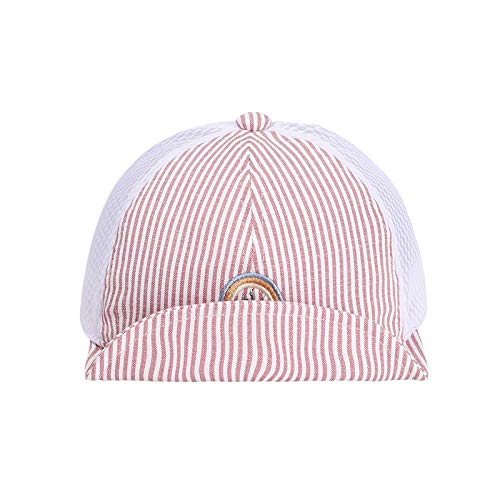 Sombrero para niños Verano algodón Gorra de Malla Coreana arcoíris a Rayas Gorra de ala Suave Sombrero para el Sol para bebé